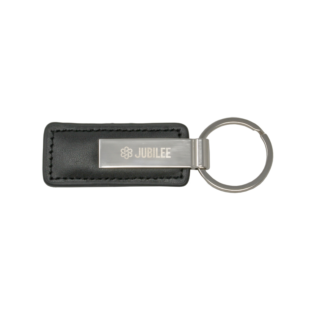 Rectangular Black Leather Key Chain with Short Metal Strip