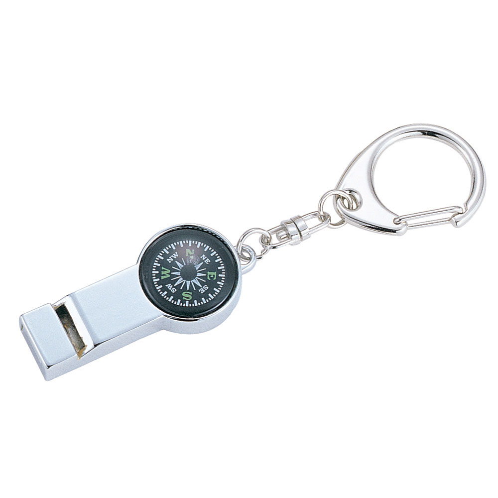 Metal Compass and Whistle Key Chain