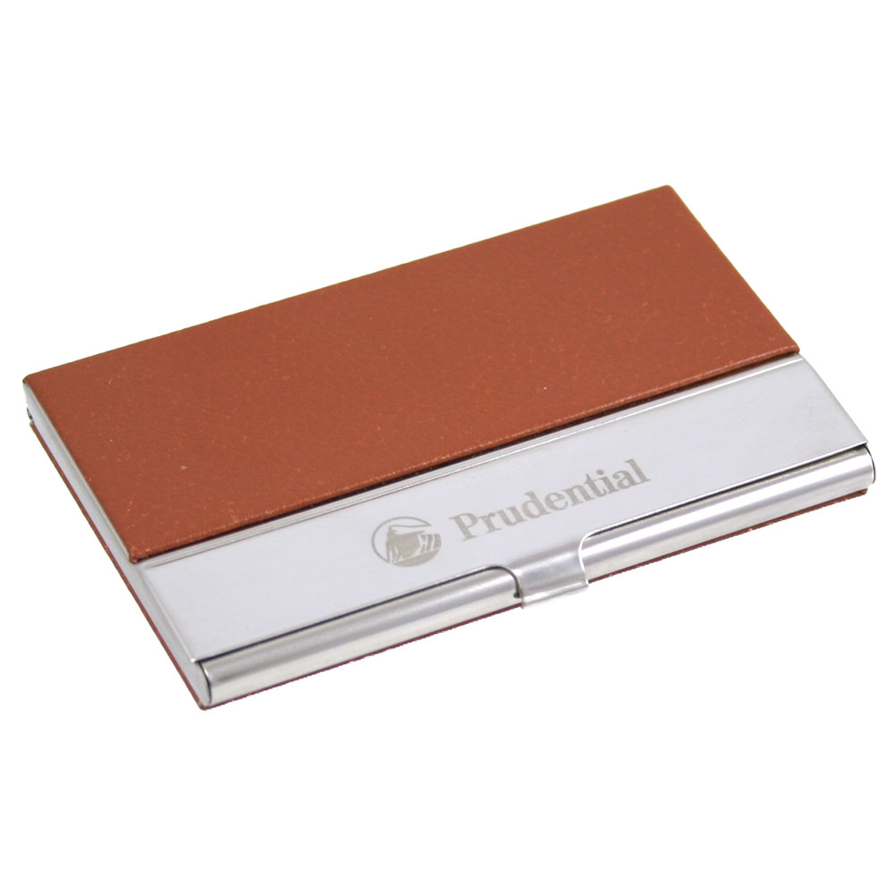 Executive Business Card Case with Brown Leatherette