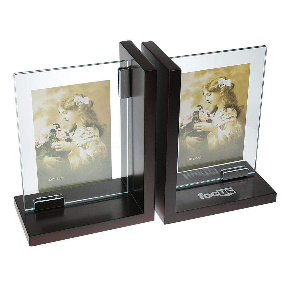 "Pair of Beautiful Glass Frame Bookends (4"" x 6"")"