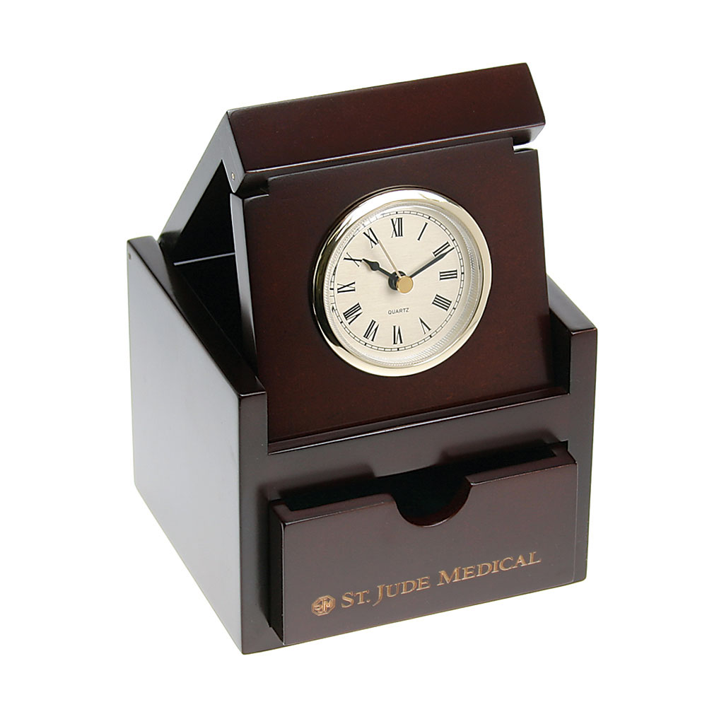 Espresso Finish Box Clock with Keepsake Drawer
