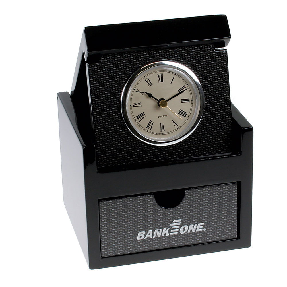 Carbon Fiber Design Flip Up Clock with Keepsake Drawer Box