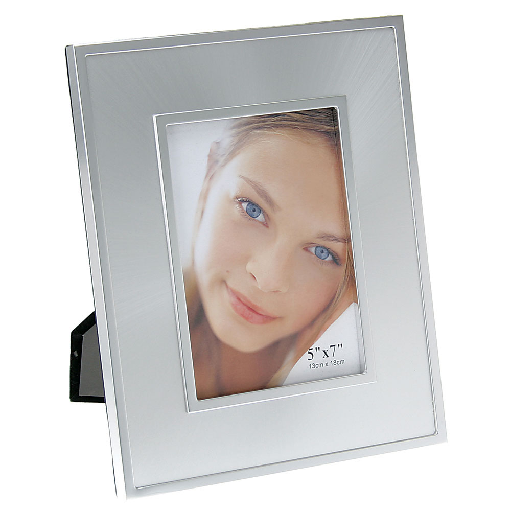 "Brushed Silver Picture Frame with Chrome Trim (5""x7"")"