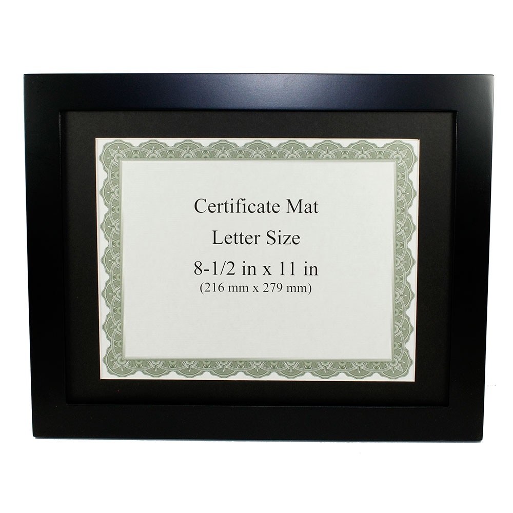 "Black Finish Wooden Certificate Frame (8-1/2""x11"")"