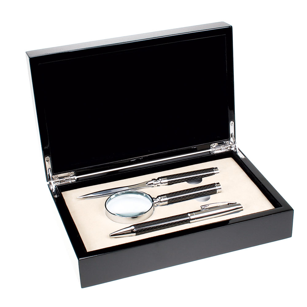Carbon Fiber Pen, Letter Opener, and Magnifier Gift Set