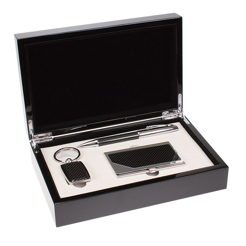 Carbon Fiber Finish Pen, Card Case and Key Chain Gift Set