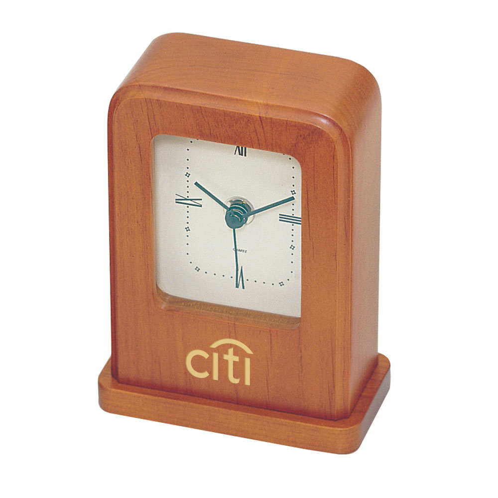 Distinct, Rectangular Desktop Clock in Cherry Finish