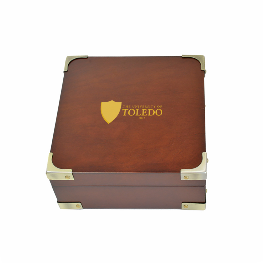 Classic Wooden Box with Brass Corners in Rosewood Finish
