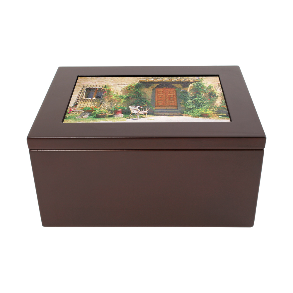 Rosewood Finish Wooden Box with Ceramic Tile Insert