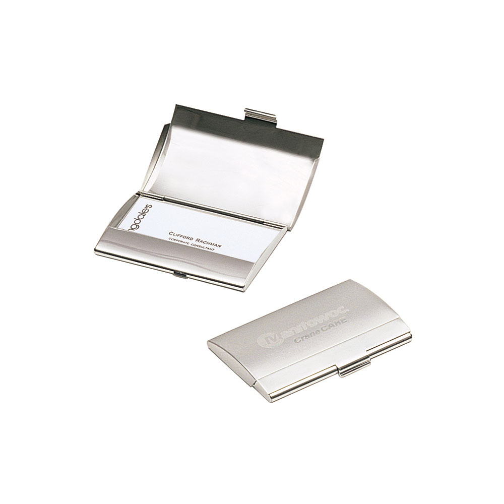 Curved Business Card Case in Satin Nickel