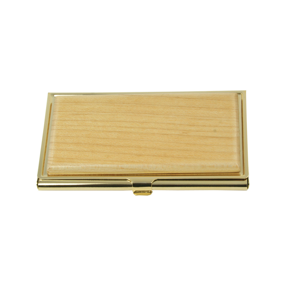 Brass Business Card Case with Maple Lid | BD194-M
