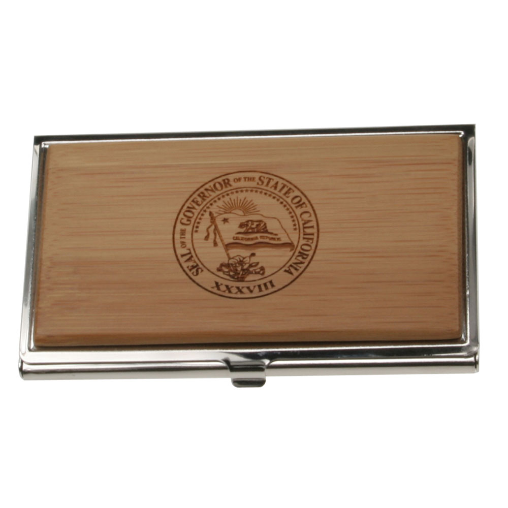 Executive Business Card Case with Bamboo Lid
