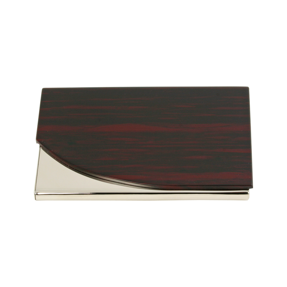 Metal Card Case with Acrylic Wooden Finish Curved Lid