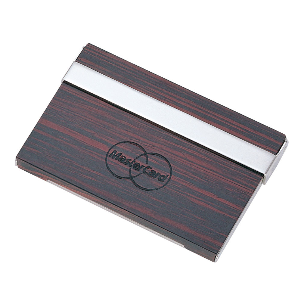Metal Card Case with Acrylic Wooden Finish Accents