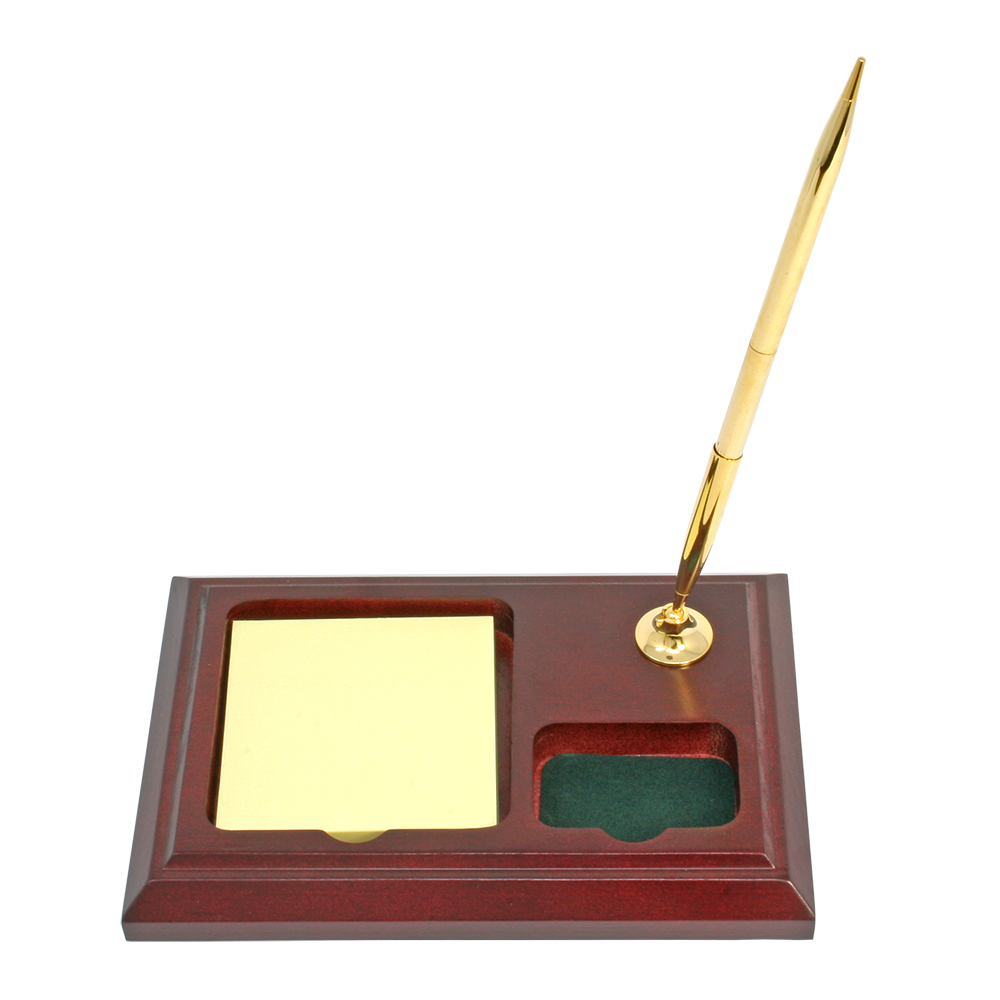 Wooden Desktop Pen Stand with Note and Clip Tray