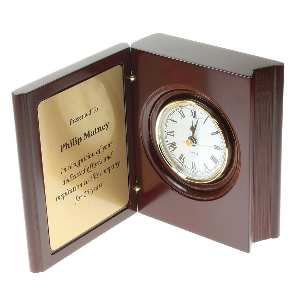 Book Style Clock with Brass Plate