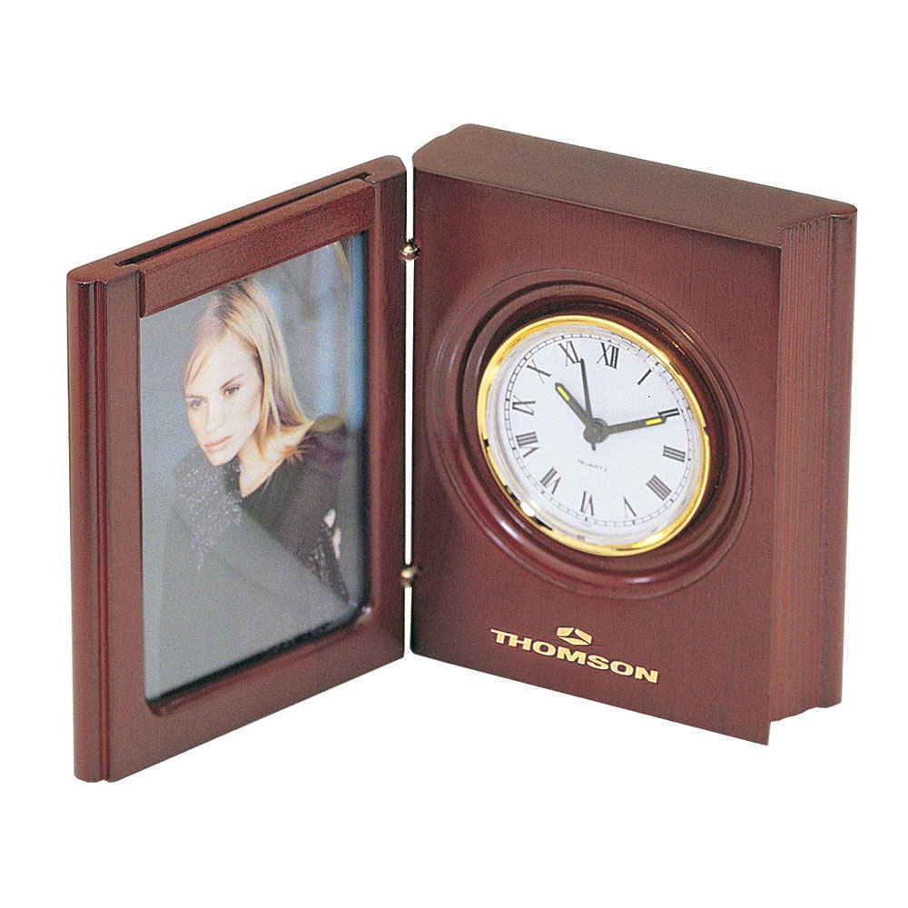 Analogue woodmax book style clock with picture frame jeuxipadfo Images