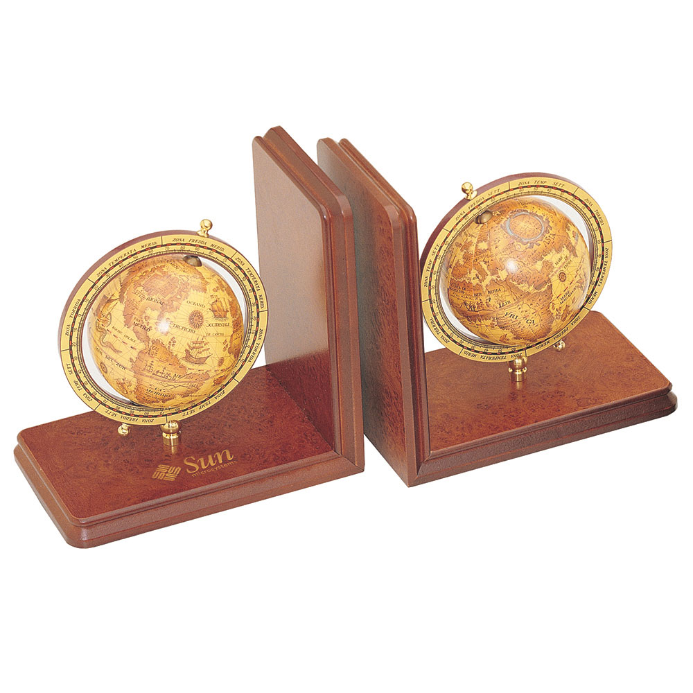 Executive Pair of Wooden Bookends with Globes