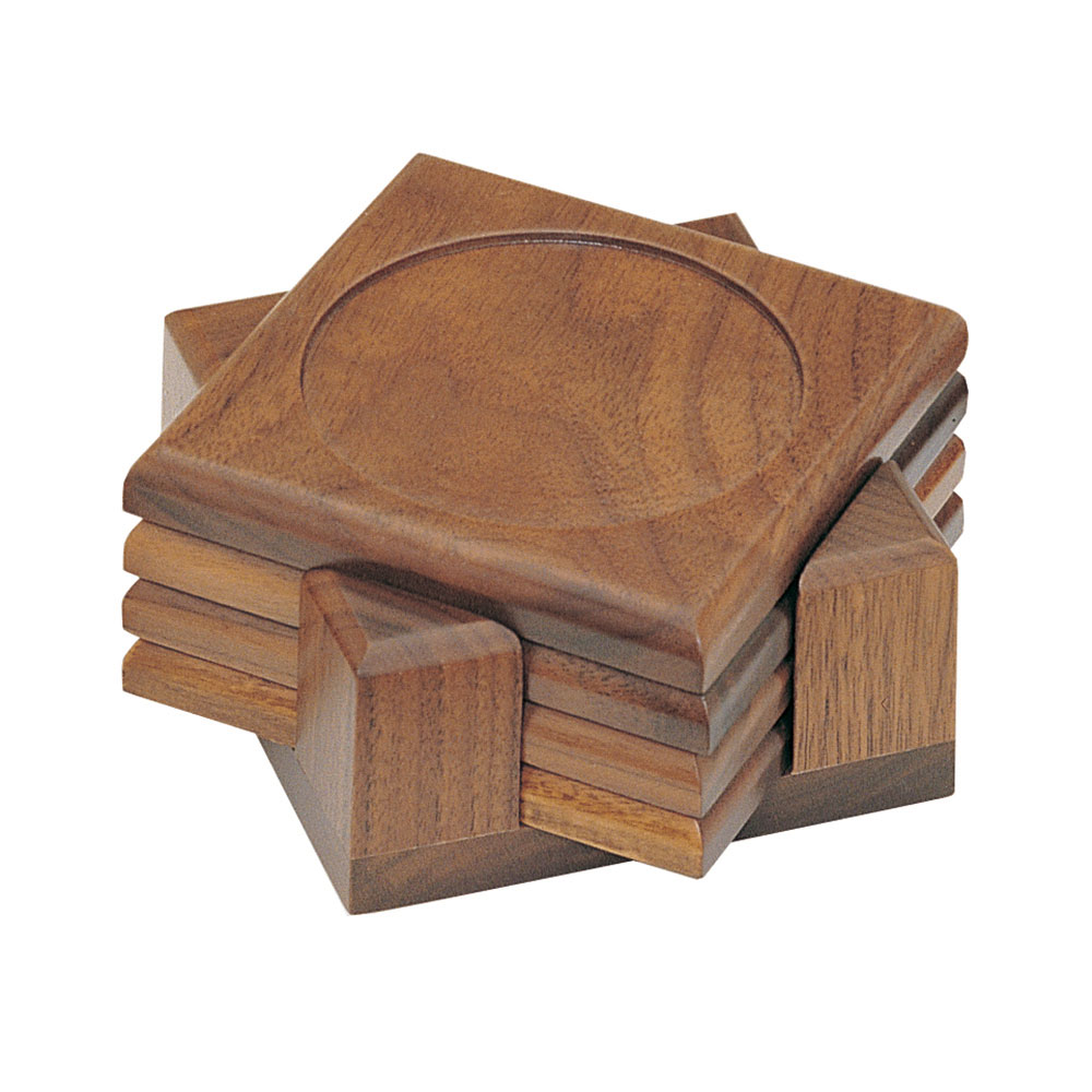 Four Piece Walnut Finish Coaster Set with Holder