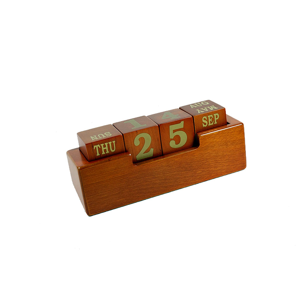 Wooden Cube Calendar Blocks with Stand - Cherry Finish