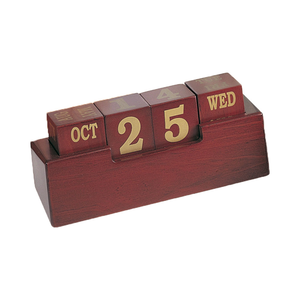 Wooden Cube Calendar Blocks with Stand - Rosewood Finish