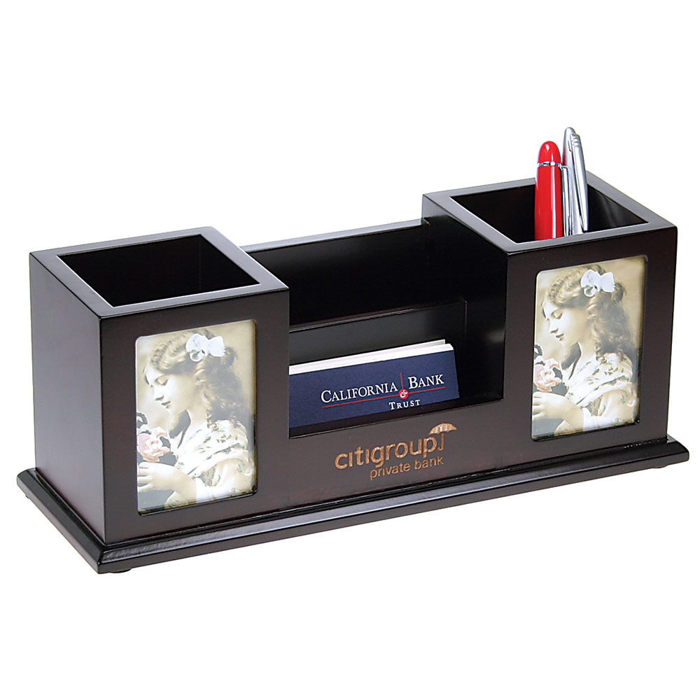 Wooden Desk Set Two Pencil Cups with Frames and Card Holder