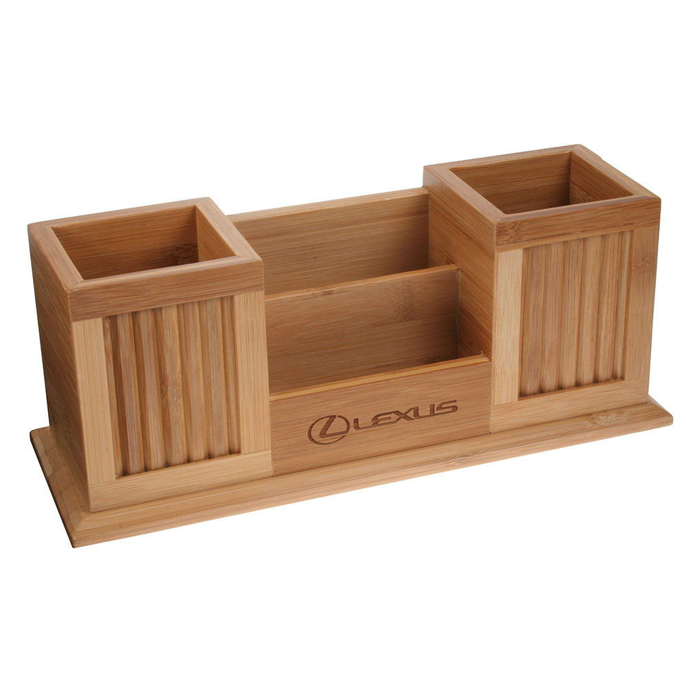 Wooden Desk Set Two Pencil Cups with Frames and Card Holder | D568