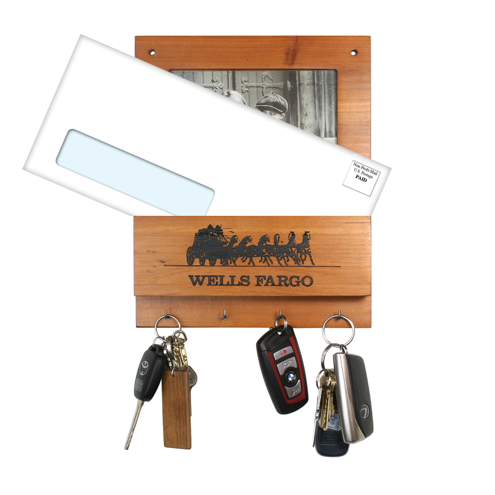 "Wooden Key Rack with Mail Holder and Photo Frame (4"" x 6"")"