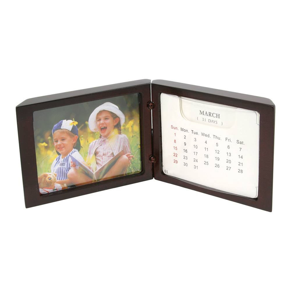 "Standing Desk Calendar with Small Picture Frame (3-1/4"" x 2-1/2"")"