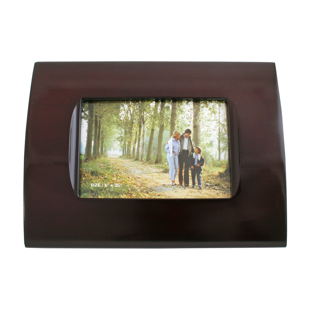 Rosewood Finish Photo Frame With Curved Edges 5 X 3 12 F2135