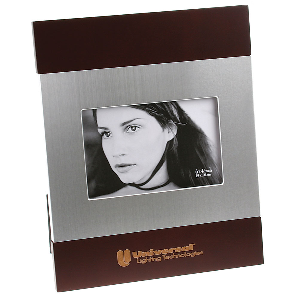 "Brushed Silver and Rosewood Finish Photo Frame (4""x6"")"