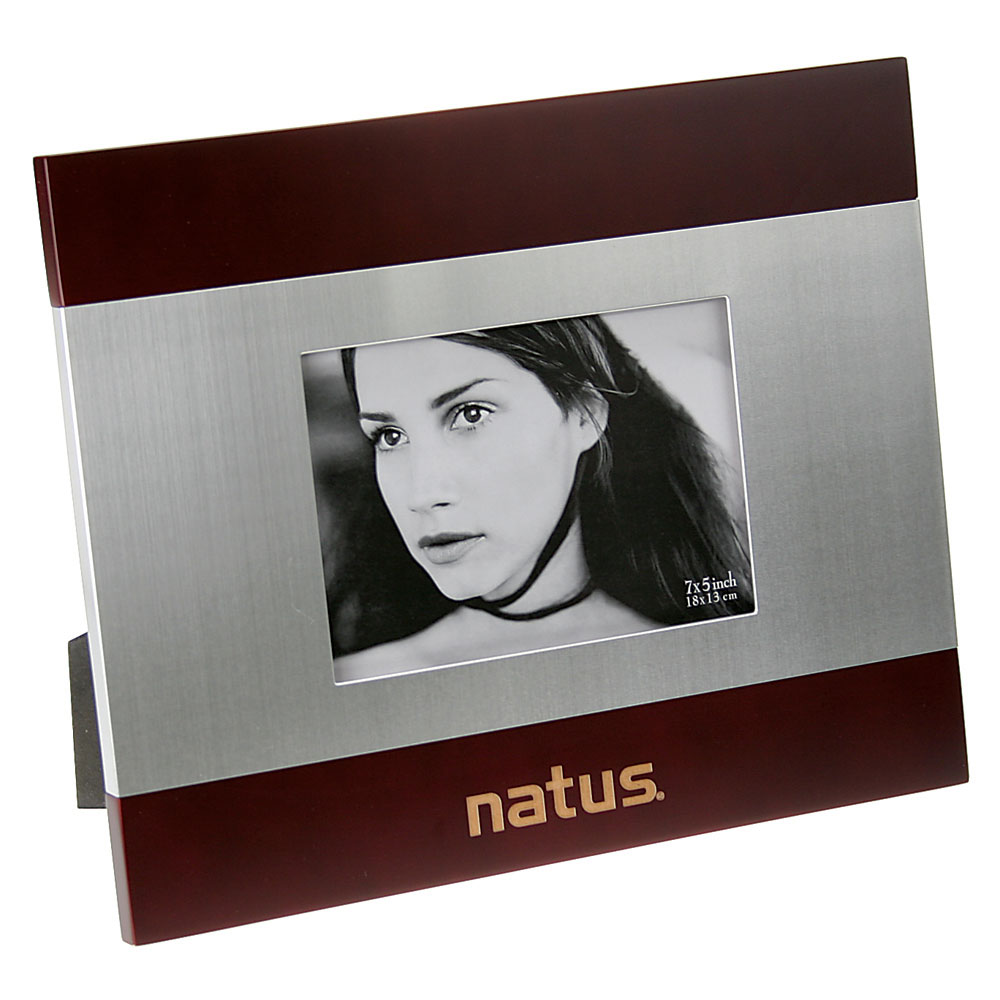 "Brushed Silver and Rosewood Finish Photo Frame (5""x 7"")"