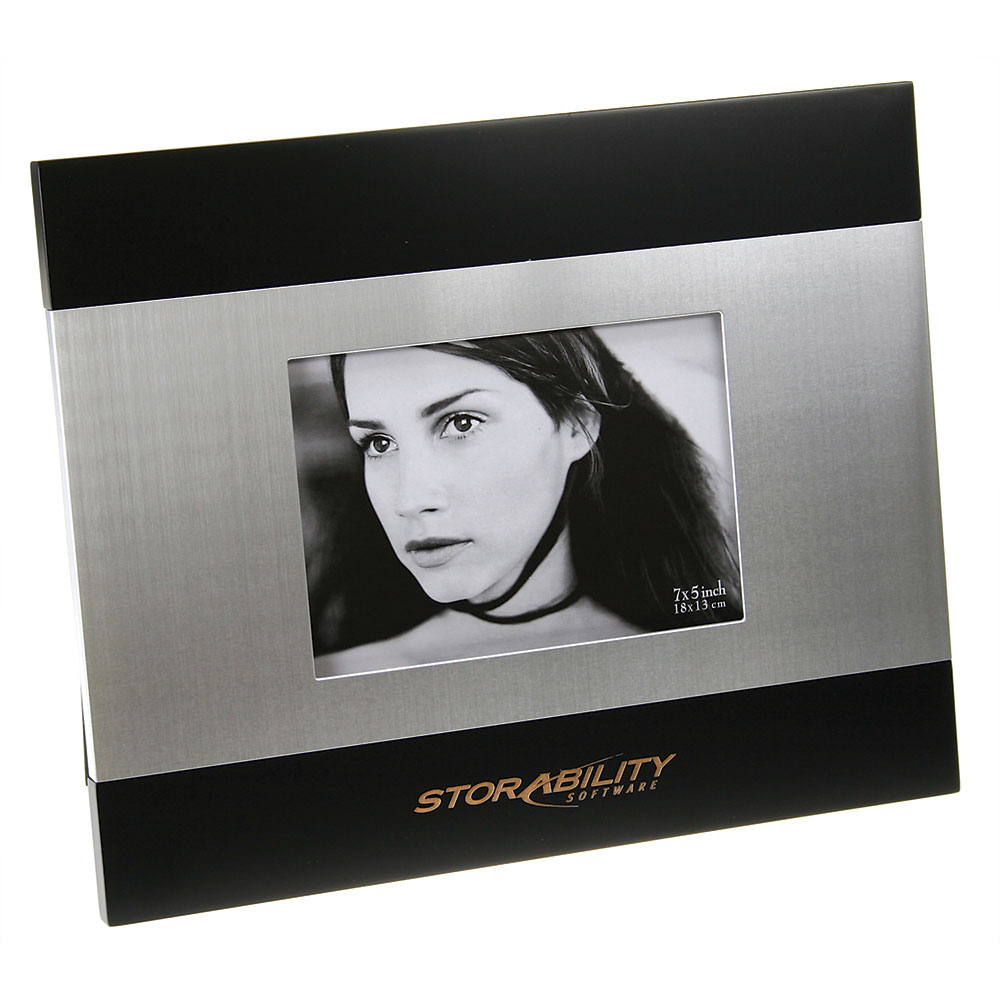 "Brushed Silver and Black Wood Finish Photo Frame (5""x 7"")"