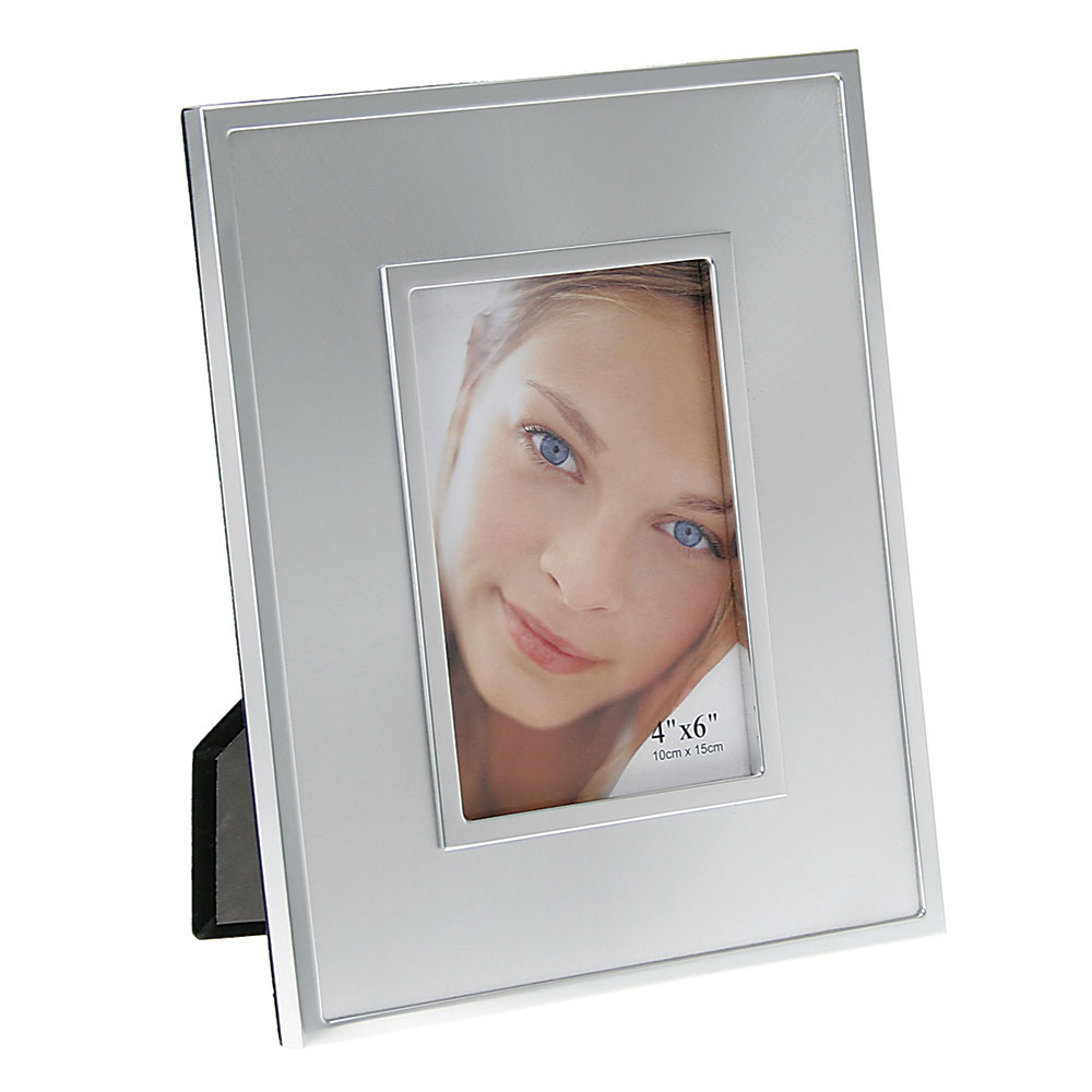 "Silver Photo Frame with Radial Pattern (4""x6"")"