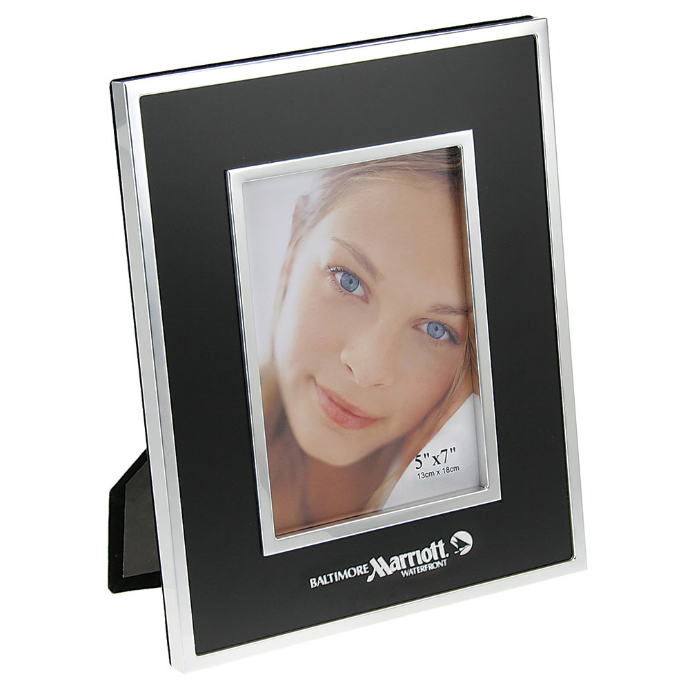 "Brushed Black Metal Picture Frame with Chrome Trim (5""x7"")"