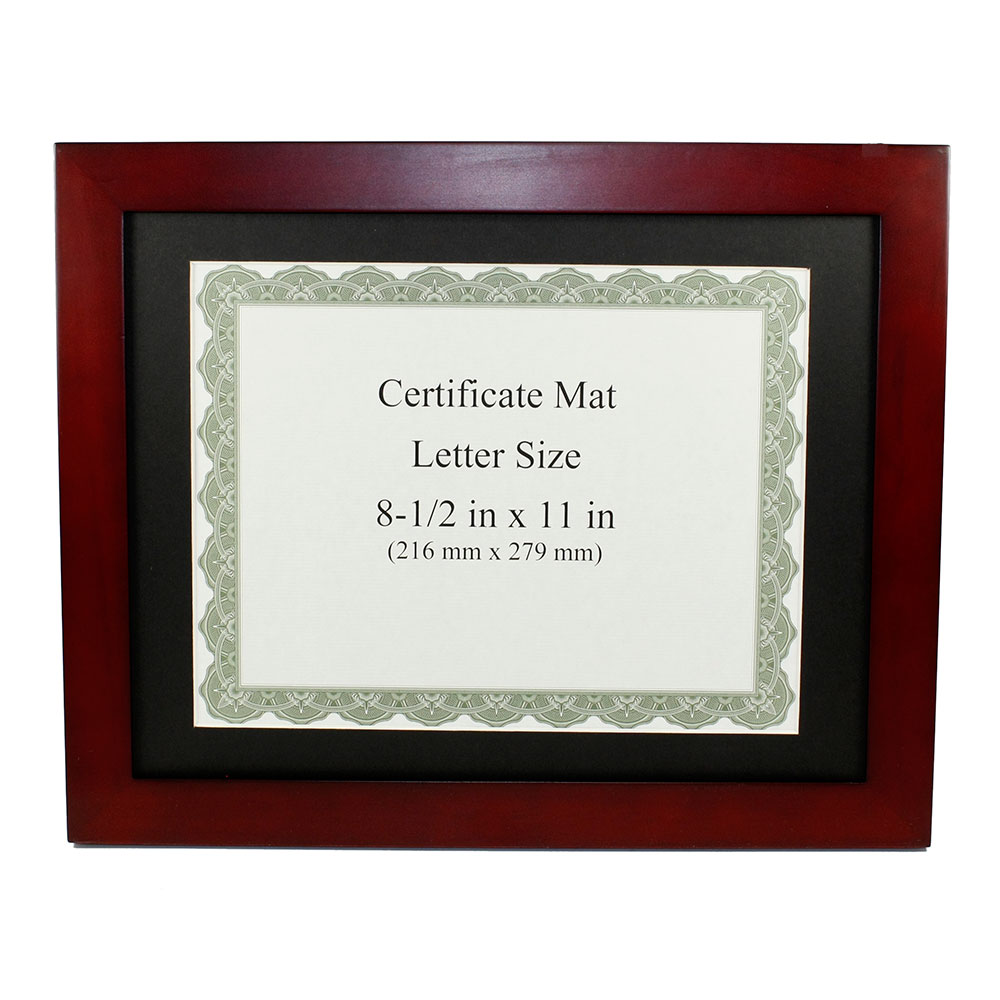 "Rosewood Finish Wooden Certificate Frame (8-1/2""x11"")"