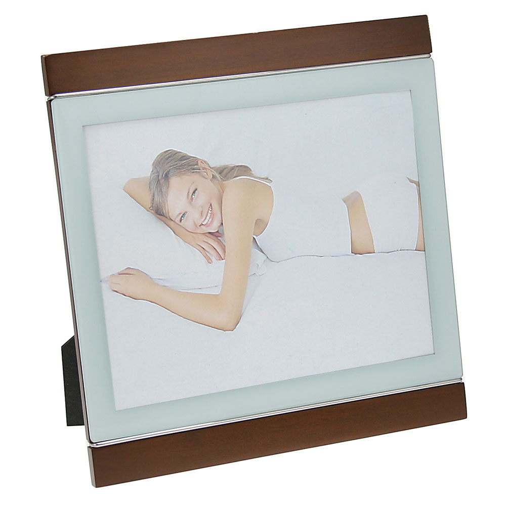 "White Glass and Walnut Finish Picture Frame (8""x10"")"