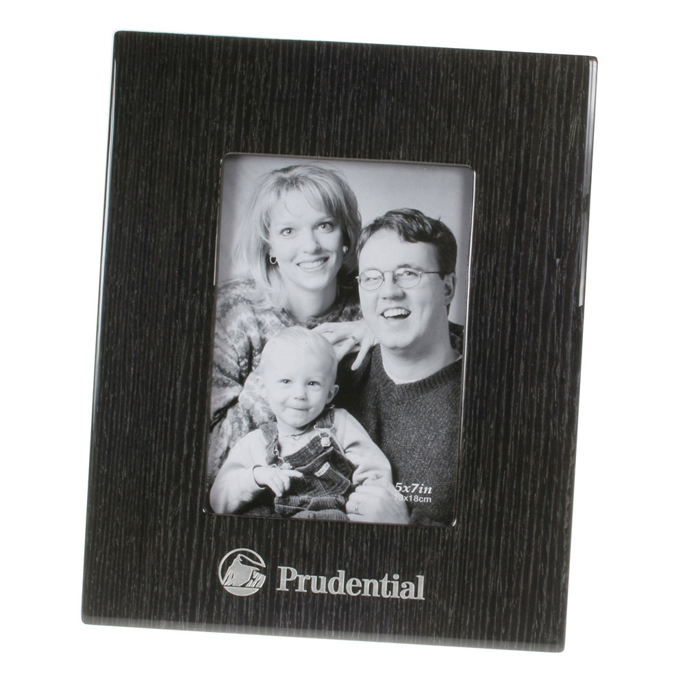 "Glossy Wood Grain Picture Frame in Black Finish (5"" x 7"")"