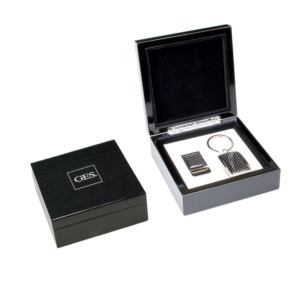 Carbon Fiber Key Chain and Money Clip Gift Set