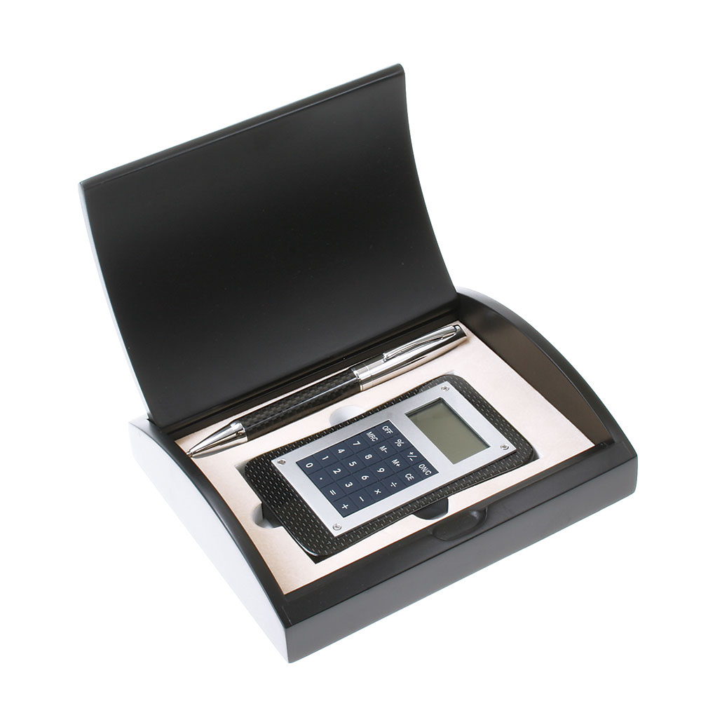Carbon Fiber Pen and Calculator Gift Set