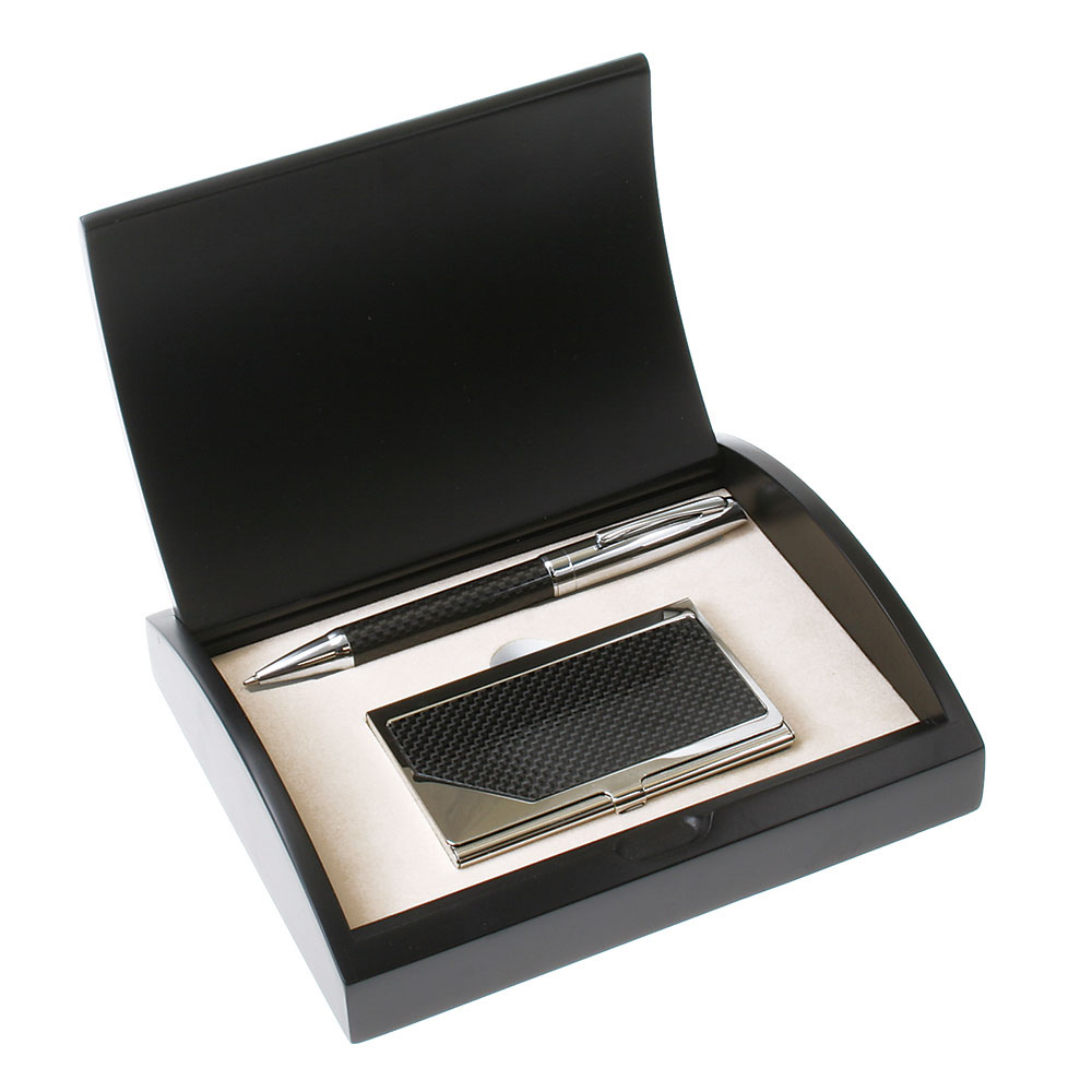 Carbon Fiber Pen and Card Case Gift Set
