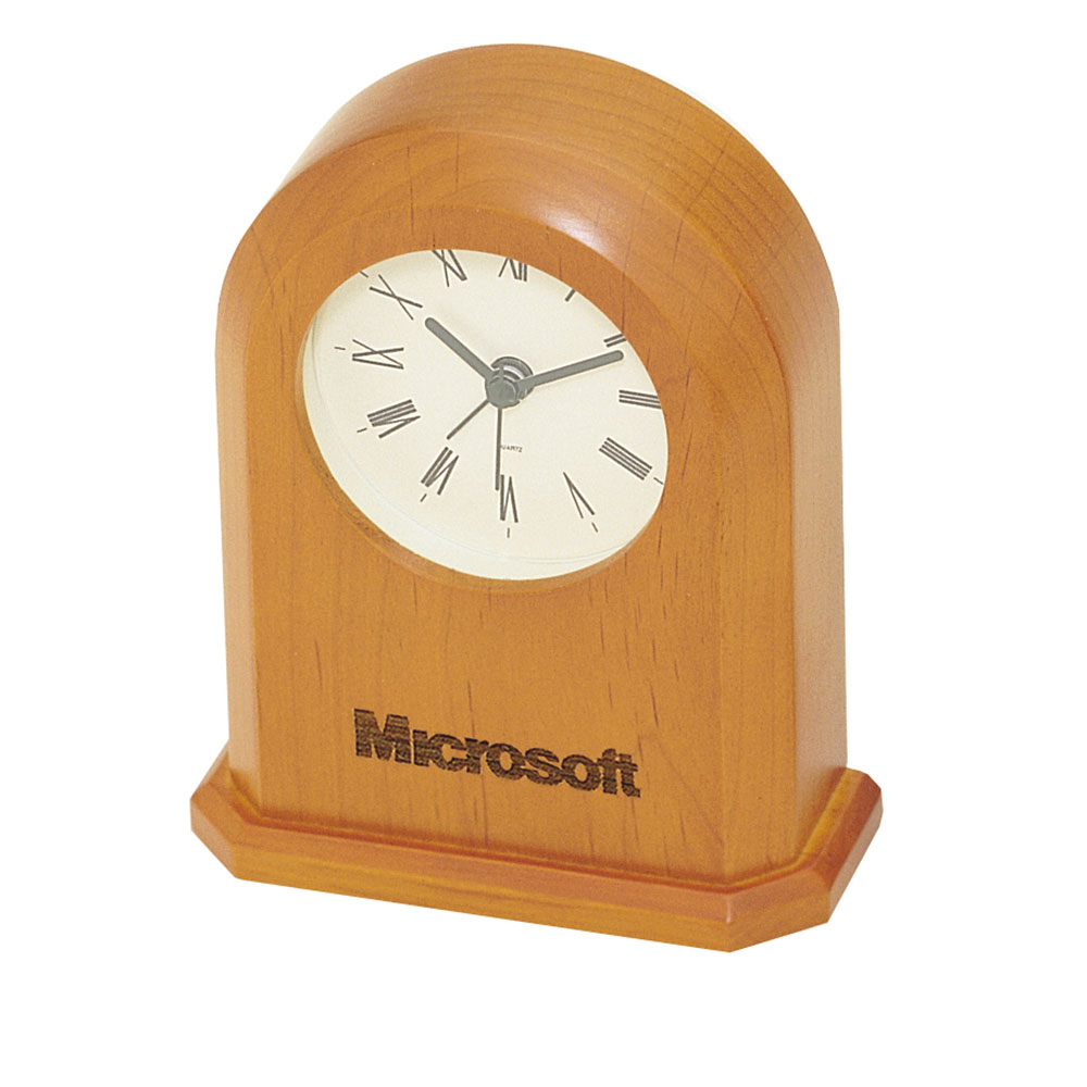 Distinct, Arched Desktop Clock in Cherry Finish