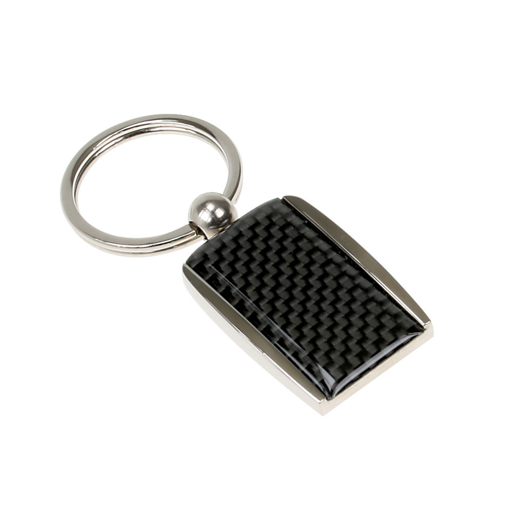 Shiny Metal Key Chain with Carbon Fiber Design