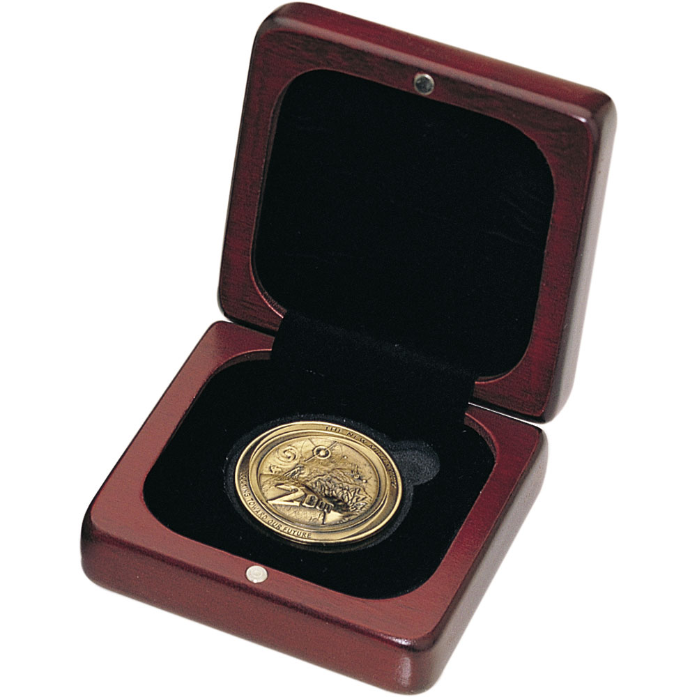 "Small, Square Rosewood Finish Coin Box (Holds 1-5/8"" Coin)"