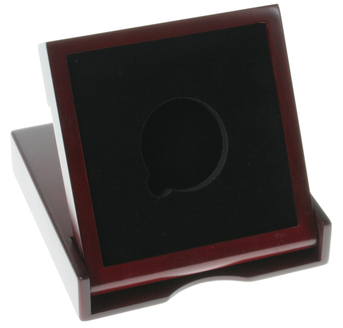 "Square Rosewood Finish Wooden Box Coin Drawer and Stand (Holds 3"" Coin)"