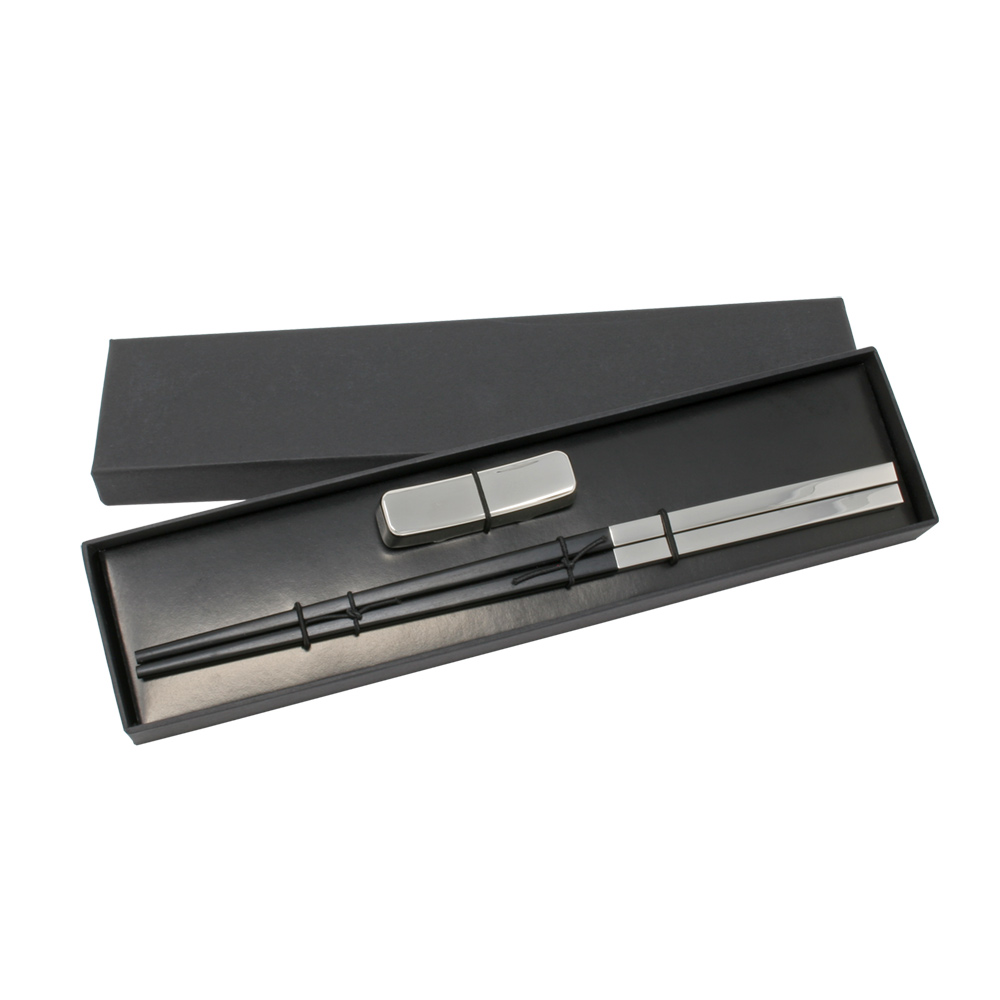 nickel plated ebony chopsticks with resting cradle in black