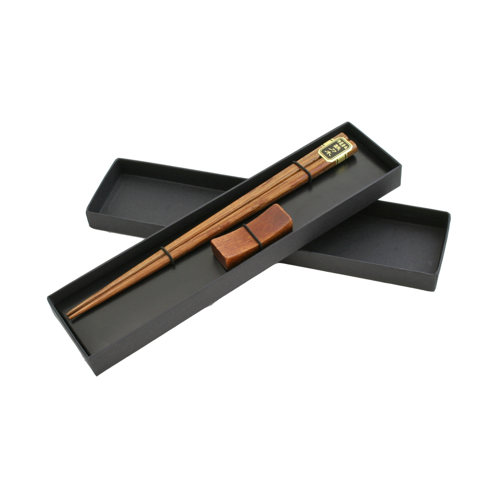 Wooden Brown Chopsticks with Resting Cradle in Cardboard Box