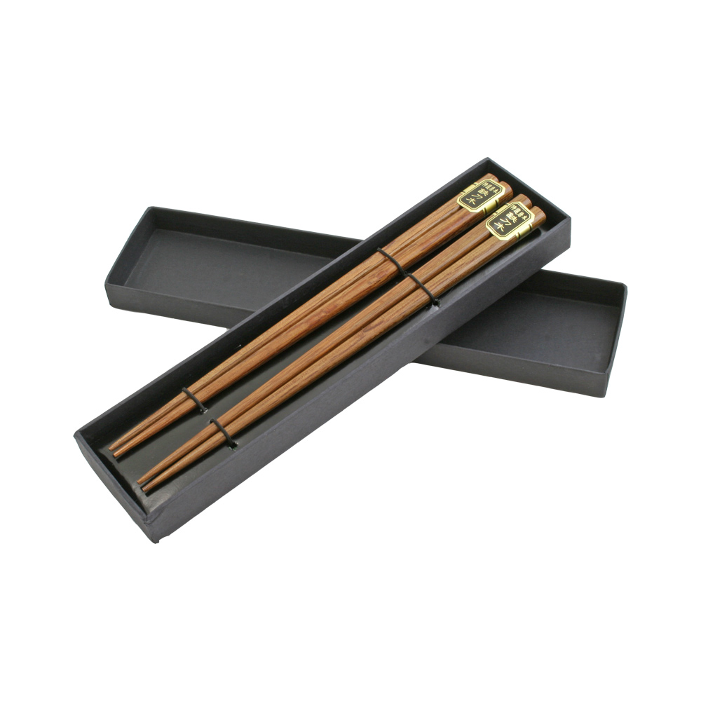 Set of Two Wooden Brown Chopsticks in Cardboard Box