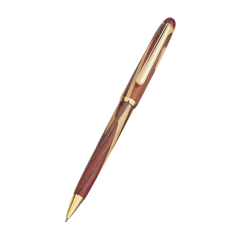 Executive Medium Sized Mechanical Pencil with an Inlaid Rosewood, Maple, and Walnut Barrel