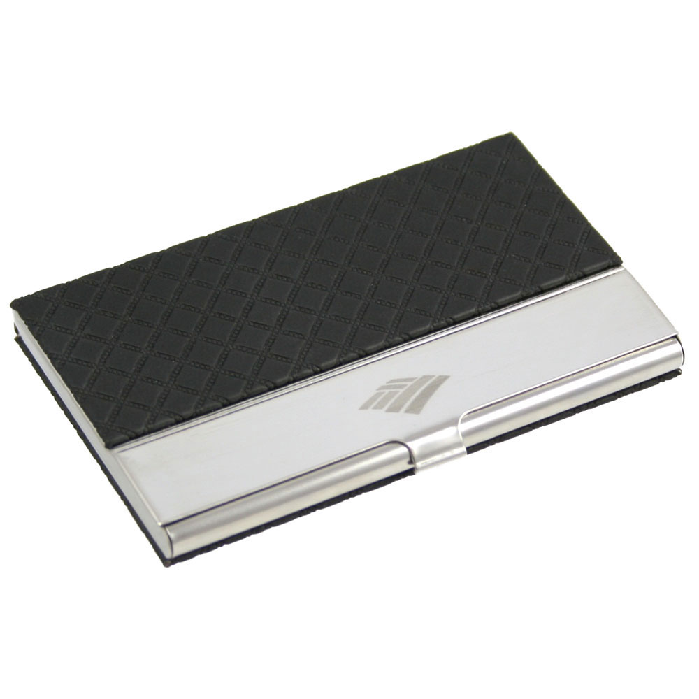 Executive Business Card Case with Black Leatherette Diamond Design ...